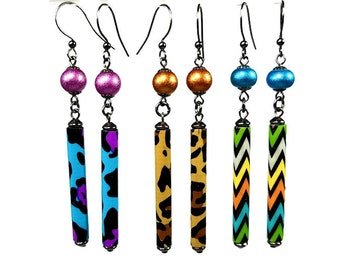 Animal Print Earrings, Leopard Earrings, Fun Jewelry Designs, Long Dangle, Colorful, Duct Tape, Lightweight, Gift For Her