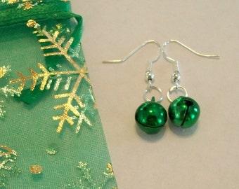 Cute Green Christmas Jingle Bell Earrings