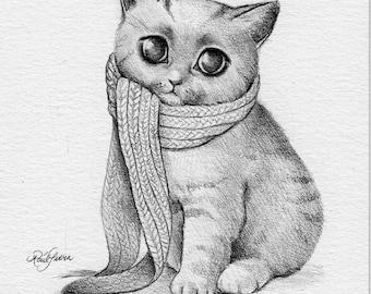 Scarf Kitty Cat. Original Artwork. Raul Guerra
