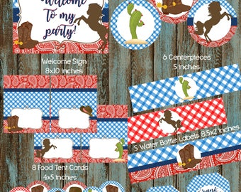 Cowboy Party Package, Cowboy Birthday Party, Cowboy Party supplies, Cowboy Birthday Printable Decorations, Cowboy Party, Western Party