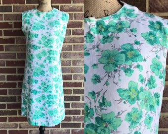 Vintage 1960s white and green floral mod summer sleeveless dress 60s mod