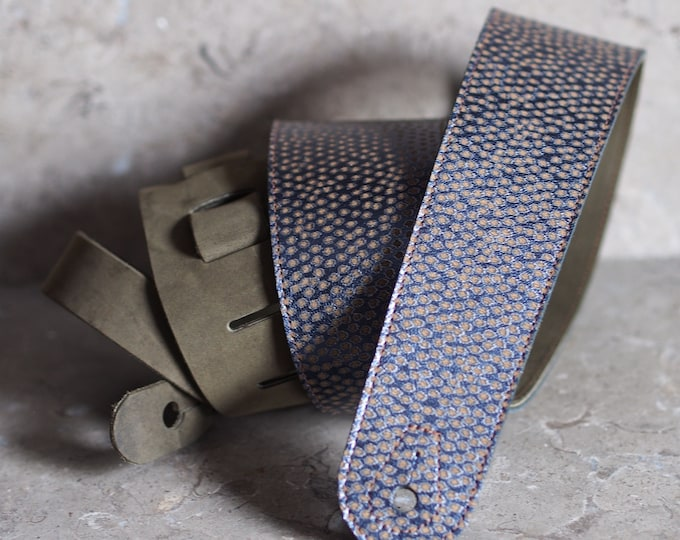Metallic Blue with Dots on Olive Leather Guitar Strap