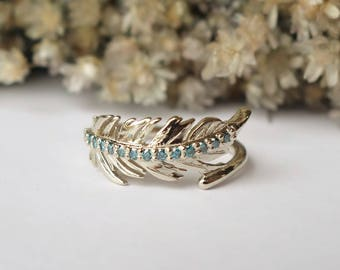 Diamond Feather Ring - Wide