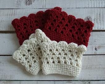 Crochet Seashell Boot Cuffs