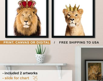 Lion And Lioness Wall Art, Lion With Crown Print, Lioness And Lion Canvas,