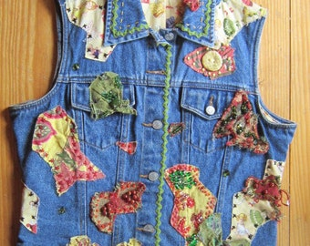 OOAK Embellished Vintage Denim Vest BABY DOLL - Fully Lined - Upcycled Repurposed Recycled Clothing