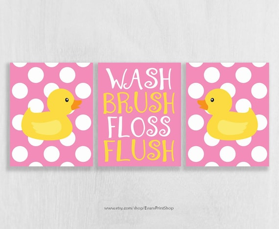CANVAS Bathroom Decor Rubber Ducky Wall Art Pink and