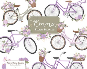 Emma Floral Bicycle Clipart Vectors In Lavender