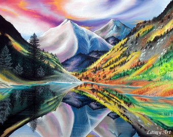 Colorado Autumn - Art print, multiple sizes - 8x10 11x14 16x20 - Mountain landscape, sunrise, sunset, Maroon Bells, Rocky Mountains