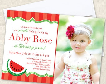 Red Watermelon Party Photo Invitations - Watermelon Birthday Invitations - Professionally printed *or* DIY printable