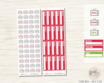 Netflix, Youtube, Hulu Icons & Box Stickers - Planner Stickers - FS39