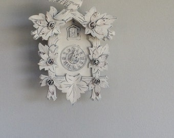 Hand painted French Nordic alps style vintage wood cuckoo clock art piece