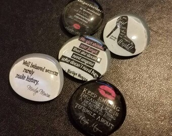 Set of 5 Strong Glass Magnets, Marilyn Monroe Quotes, Inspiration for girls women, Office, Kitchen Decor, Refrigerator Magnets, Fridge Art