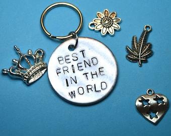 Best friend gift, Best friend keyring, Best friend key ring, Birthday gift, Engraved name, uk, personalised ,Custom gifts, Gift for friend,