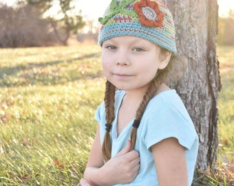 Hand Crochet Beanie Hat with Flower and Button Embellishment Warm and Cozy Size Teen to M Adult