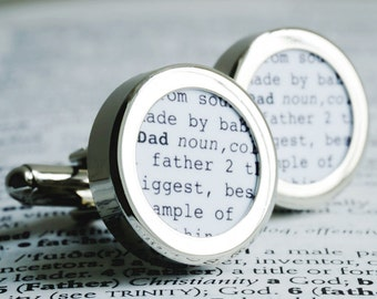 Father Cufflinks with Dad Dictionary Definition Dictionary Page PC634