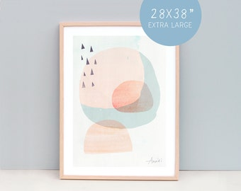 """28 x 38 """" Contemporary Prints, Modern Art Prints, Contemporary Wall Decor, Modern Wall Art, Abstract Art - Cirlces and Triangles, Peach"""