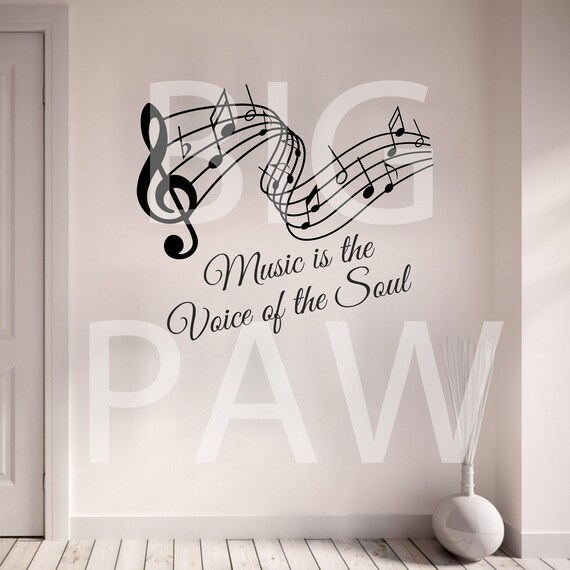 Music Is The Voice Of The Soul Vinyl Wall Art Sticker Decal Living Room Music Room Bedroom
