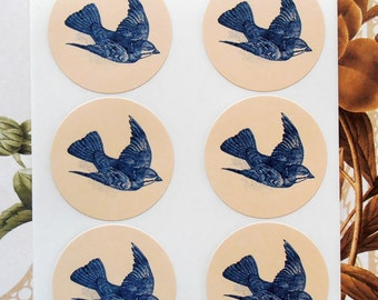 Stickers Blue Bird Vintage Style Handmade Envelope Seals Party Favor SP035