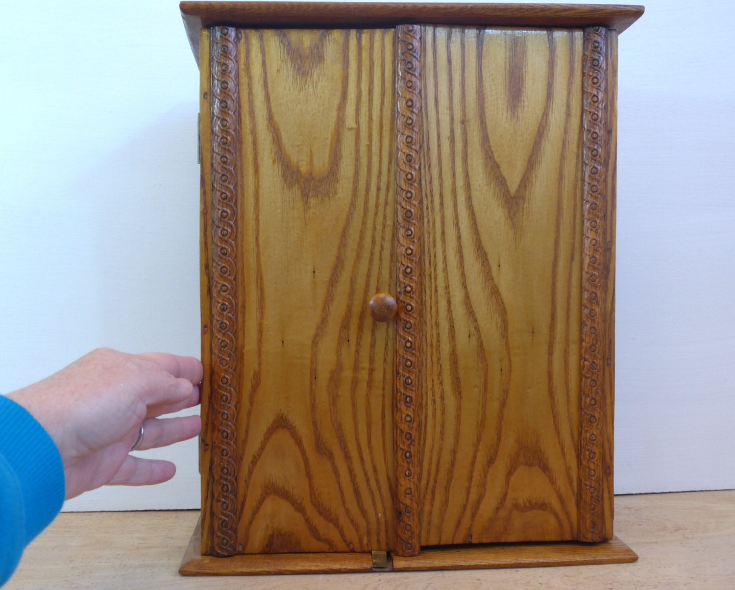 Vintage Tall Oak Wood Mini Cabinet   Wooden Jewelry Closet Dovetailed  Corners Decorative Trim Cottage Chic   Shabby Shic Wood Jewelry Box
