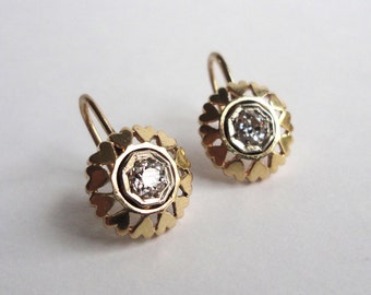 Old European Cut Diamond Earrings, Vintage Earrings, Wedding Earrings, 14K Yellow Gold