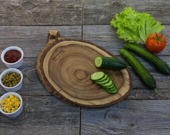 Rustic Wood Cutting Board - Walnut Hand Crafted Cheese Board / Chopping Board /  Kitchen Board / Gift Board / Appetizer Platter CBW025