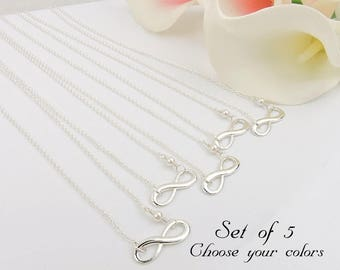Set Of 5 Infinity Bridesmaid Necklace 5 Infinity Bridesmaid Gifts Swarovski Pearl Bridesmaid Necklace Set Of 5