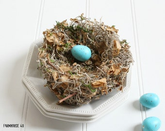 "Bird Nest ""Petals"" Handmade (Includes Light Blue Eggs)"