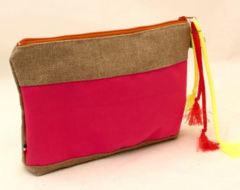 Cosmetic bag linen and neon pink-Makeup Pouch DELPHINE-Pochette Lin et cordura fluo-Toiletry bag, make up bag
