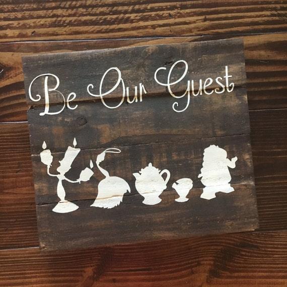 be our guest wood sign disney inspired wood sign hand. Black Bedroom Furniture Sets. Home Design Ideas