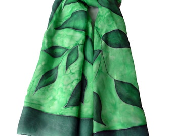 Hand painted green leaves scarf