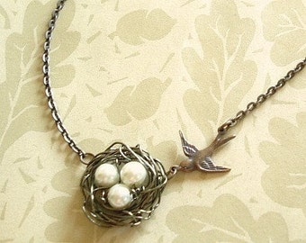 Bird Nest Necklace Pearl Birdnest Mama Bird's Nest Pendant with Pearls Wire  Wrapped Nest Jewelry
