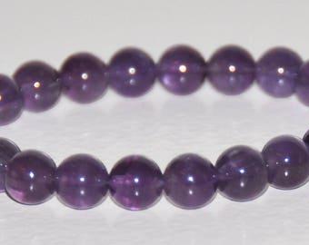 Genuine Amethyst Gemstone Bracelet, Purple Stone, Simple Bead, February Birthstone, Anxiety, Stress Bracelet, Grief Jewelry, Healing Gift
