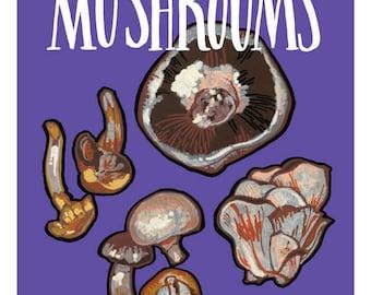 """Mushroom Illustration Print - 5"""" x 6"""""""