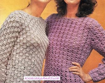 Ladies Sweaters, Crochet Pattern. PDF Instant Download.