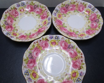 Royal Albert 3 Plates Saucers Floral Rose Bone China Small Plates Vintage Serena Pink Roses Purple Flowers Tea Party Orphans Lot