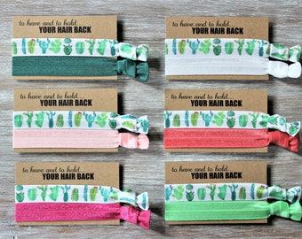 Cactus Hair Ties-Hunter Green-Light Pink-Hot Pink-White-Coral-Flash Green