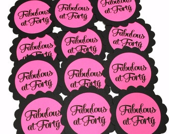40th Birthday Favor Tags, Fabulous at Forty, Scalloped Embellishments for DIY Cupcake Toppers, Black and Pink or Your Colors, Set of 12