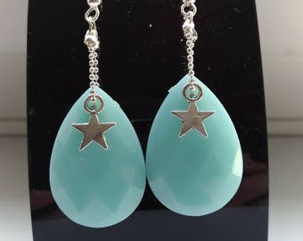 Beautiful earrings, pastel blue and Star