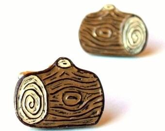 Log Cufflinks, Lumber Jack Cufflinks, Woodgrain Cufflinks, Faux Bois Cufflinks, outdoorsman Gift, Woodworker Gift, Groom Gift, Husband Gift