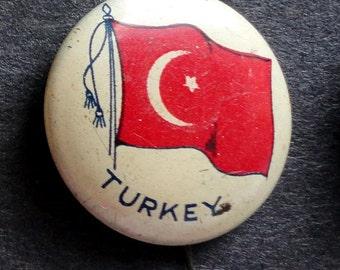 C. 1920 Pinback Button, Flag of Turkey
