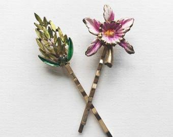 Vintage Jewelry Floral Hair Pins