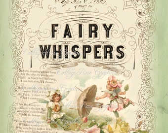 FAIRY Whispers LARGE format digital image download vintage green pink Fairies Buy 3 Get one Free