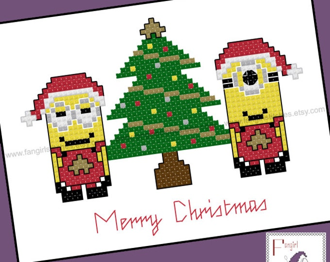 Minion inspired Christmas Cross Stitch Card - PDF Pattern - INSTANT DOWNLOAD