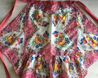 Vintage Half Apron Made From Handkerchiefs