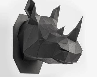 Rhino head, Animal Head, low poly, DIY, trophy, Papermodel