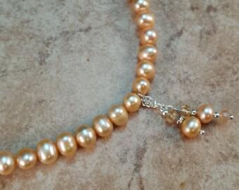 Genuine Pearl & Birthstone Necklace - NOVEMBER