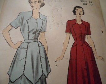 Vintage 1950's Advance 5083 Dress and Apron Sewing Pattern Size 18 Bust 36