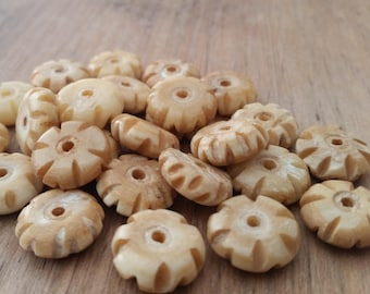 15 mm Carved Bone Disc Beads