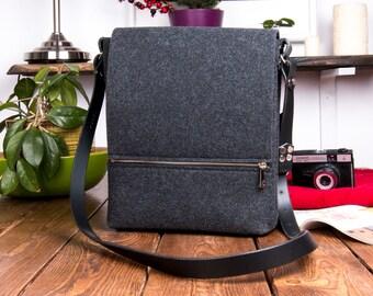 Leather messenger bag men, felt bag, laptop bag, macbook case, unisex crossbody bags, black leather, school bag, messenger bag women